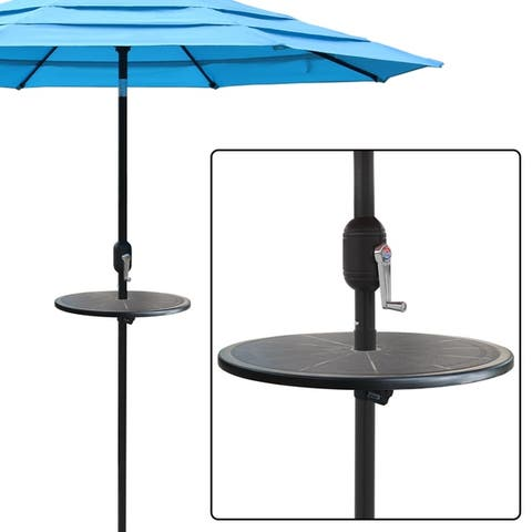 20 Feet Adjustable Outdoor Umbrella Round Table Top - Black