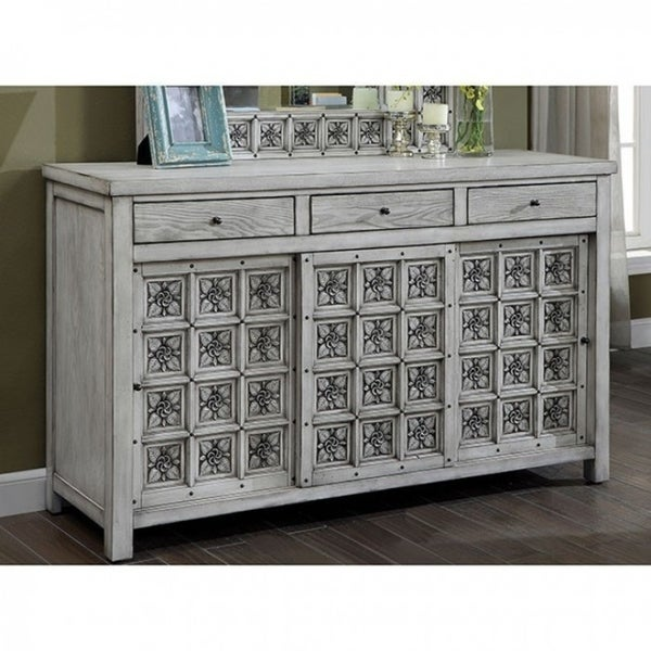 Dresser with Cabinets, Antique Light Gray