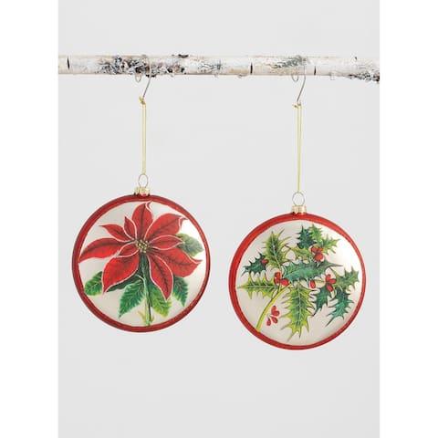 "Poinsettia Holly Ornament Set - 4.75L x1""W x5""H"""