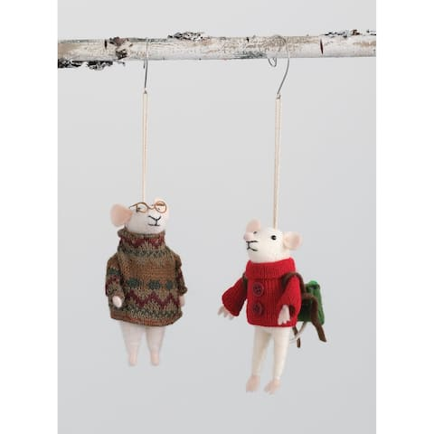 "Mice Sweater Ornament - Set of 2 - 3L x3""W x5""H; 3""L x2.5""W x5""H"""