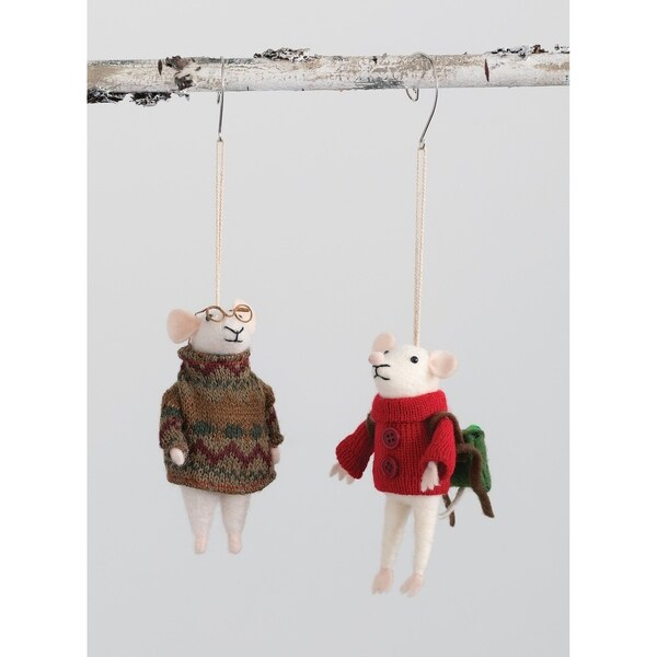 """Mice Sweater Ornament - Set of 2 - 3L x3""""W x5""""H; 3""""L x2.5""""W x5""""H"""". Opens flyout."""