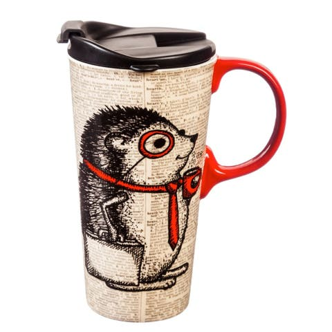 Hedgehog 17 fl. oz. Ceramic Travel Cup with Matching Gift Box
