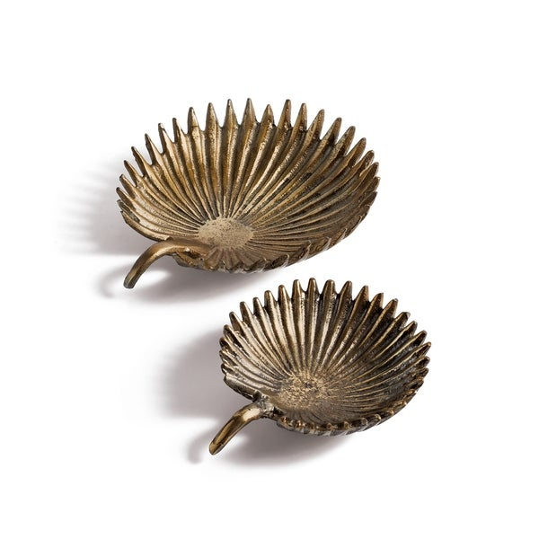 Hip Vintage Palm Antique Gold Dishes (Set of 2)