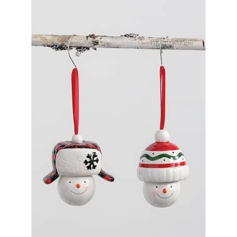 "Snowman Ornaments - Set of 2 - 3L x3""W x4""H; 4""L x3""W x4""H"""