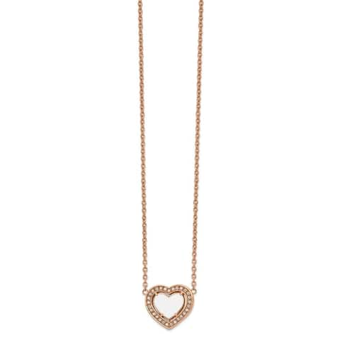 Chisel Stainless Steel Polished Rose IP-plated White Enamel CZ Heart with 2-inch Extension Necklace