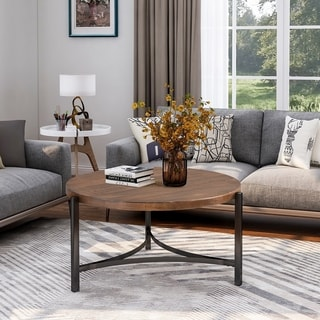 Merax Round Coffee Table Industrial Style with Table Metal Frame