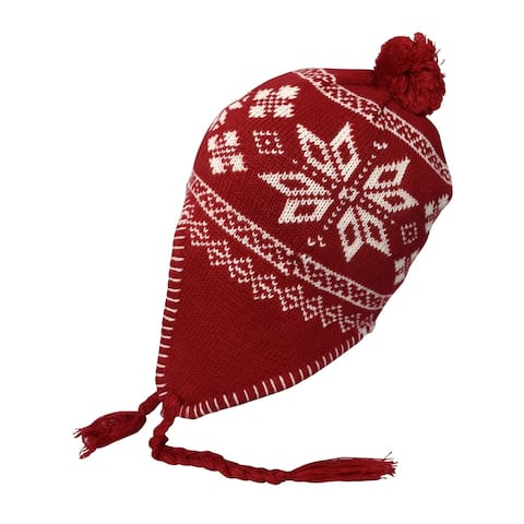 Peach Couture Red Warm Tribal Fall Winter Knit Trapper Hat Cap