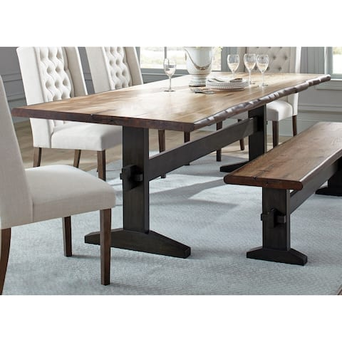 Carbon Loft Quince Natural Honey and Espresso Trestle Base Dining Table