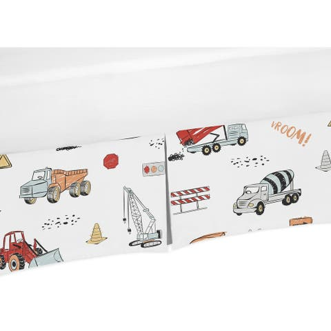 Sweet Jojo Designs Construction Truck Collection Boy Crib Bed Skirt - Grey Yellow Orange Red and Blue Transportation
