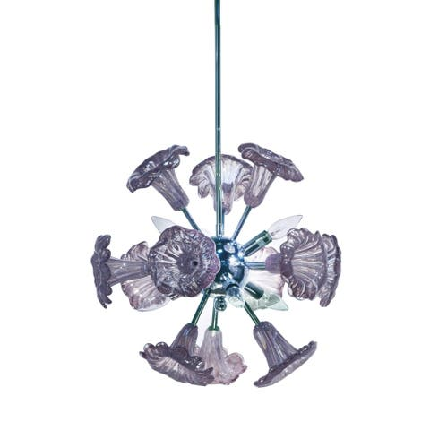 Yuri Purple 6-Light Art Glass Hanging Fixture