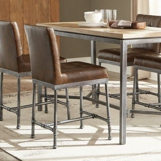 Link to Carbon Loft Biddie Dark Brown and Black Tufted Back Counter Stools (Set of 2) Similar Items in Dining Room & Bar Furniture