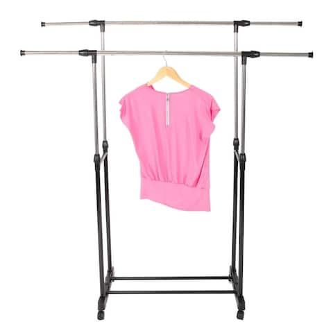 Vertical Horizontal Stretching Stand Clothes Rack with Shoe Shelf