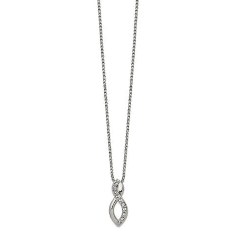 Chisel Stainless Steel Polished with Swarovski Crystals 16-inch Necklace