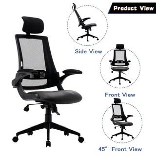 Ergonomic Office Chair Adjustable Headrest Mesh Office Chair Office Desk Chair Computer Task Chair in Black