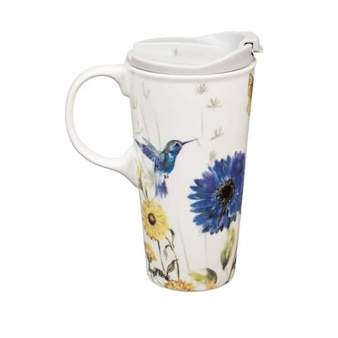 Floral Garden 17 fl. oz. Ceramic Travel Cup with Matching Gift Box