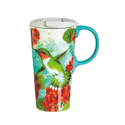 Trio Birds 17 fl. oz. Ceramic Travel Cup with Matching Gift Box