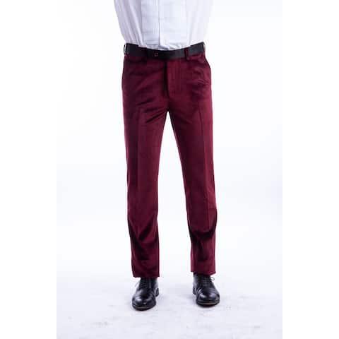 Men Solid Velvet Dress Pant Flat Front Skinny Modern Fit