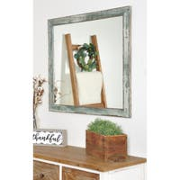 Farmhouse Sage Wall Mirror - Brown/Green/Gray