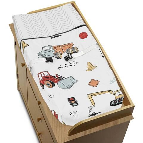 Sweet Jojo Designs Construction Truck Boy Changing Pad Cover - Grey Yellow Orange Red Blue Transportation Chevron Arrow