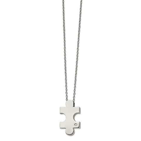 Chisel Stainless Steel Polished with CZ Puzzle Piece 16-inch with 2.5-inch Extension Necklace