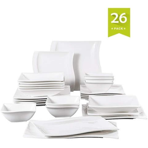 26 Pieces Dinnerware Set Plates and Bowls Sets White Service for 6