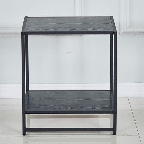 18.2 Inch Square Side/End Table/Night Stands in Black