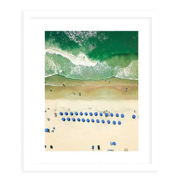 OVERHEAD BEACH White Framed Giclee Print By Olivia St. Claire