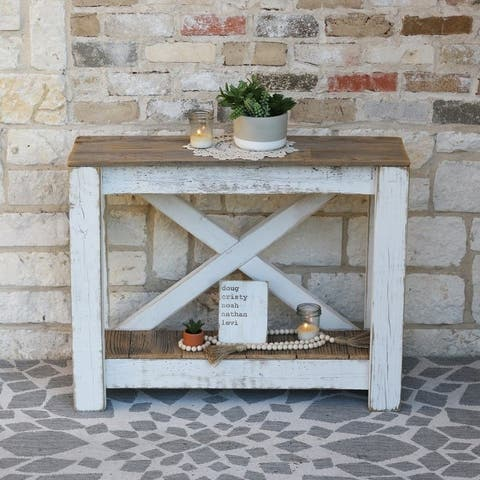 The Gray Barn Clovelly White Combo X-back Console Table