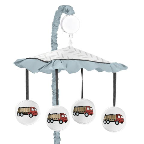 Sweet Jojo Designs Construction Truck Collection Boy Musical Crib Mobile - Yellow Red and Blue Transportation Chevron Arrow