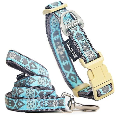 Touchdog 'Shape Patterned' Tough Stitched Embroidered Collar and Leash