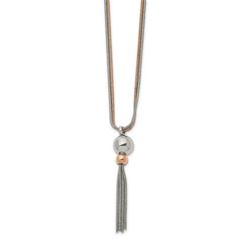 Chisel Stainless Steel Polished Rose IP-plated 2 Strand 18.5-inch Necklace