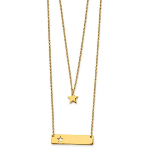 Chisel Stainless Steel Yellow Ip-plated Star and Bar Multi-strand 1.5-inch Extension Necklace