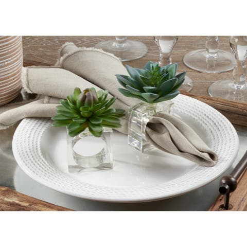 Succulent Design Napkin Ring Holders (Set of 4)