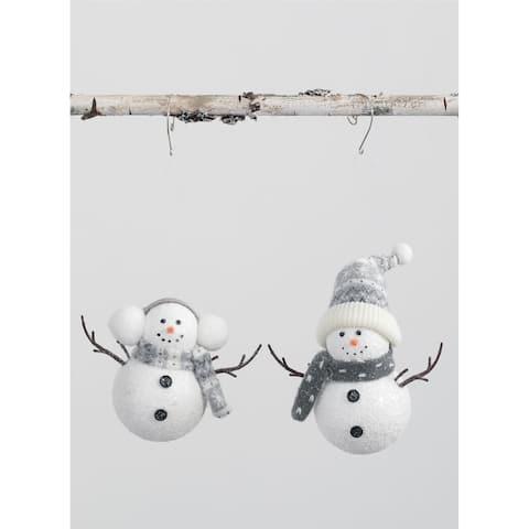 "Snowman Ornament - Set of 2 - 6L x3""W x5""H; 6""L x3""W x8""H"""