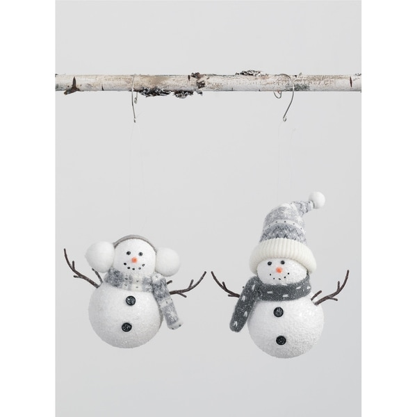 "Snowman Ornament - Set of 2 - 6L x3""W x5""H; 6""L x3""W x8""H"". Opens flyout."
