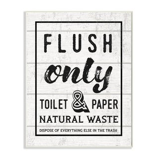 Stupell Industries Flush Only Bathroom Sign Family Home Word Design Wood Wall Art