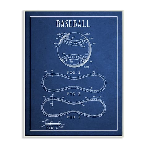 Stupell Industries Baseball Blueprint Vintage Sports Design Wood Wall Art
