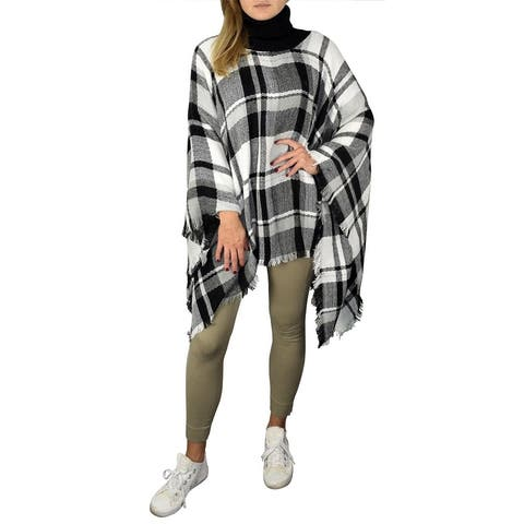 Peach Couture Plaid Tartan Winter Poncho Sweater Pullovers