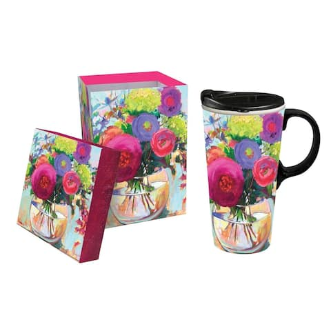 Flower Shop 17 fl. oz. Ceramic Travel Cup with Matching Gift Box