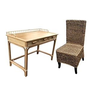Rattan 3 Drw Writing Desk with Seagrass Side Chair