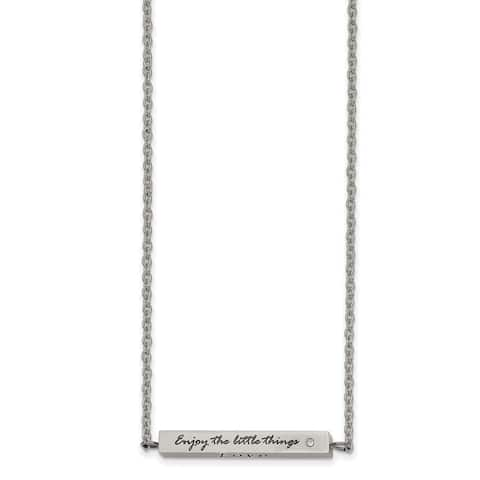 Chisel Stainless Steel Polished CZ Enjoy The Little Things 16-inch with 2-inch Extension Bar Necklace