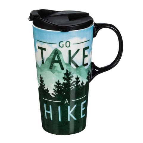 Go Take a Hike 17 fl. oz. Ceramic Travel Cup with Matching Gift Box