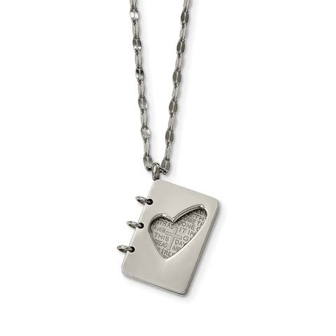 Chisel Stainless Steel Brushed and Polished Lord's Prayer Necklace