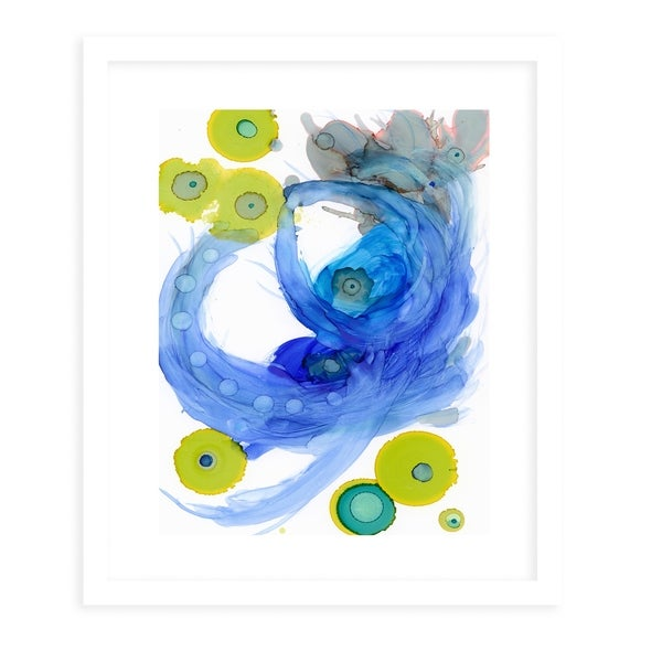 SWIRLS BLUE White Framed Giclee Print By Olivia St. Claire