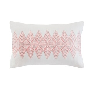 Echo Design Simona Grey Embroidered Cotton Oblong Decorative Pillow