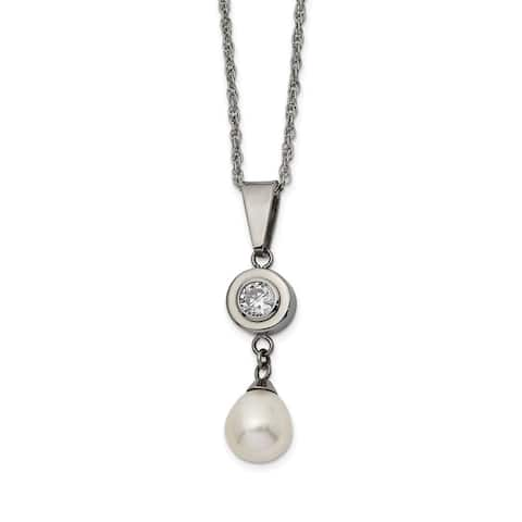 Chisel Titanium Polished with CZ and Freshwater Cultured Pearl Necklace