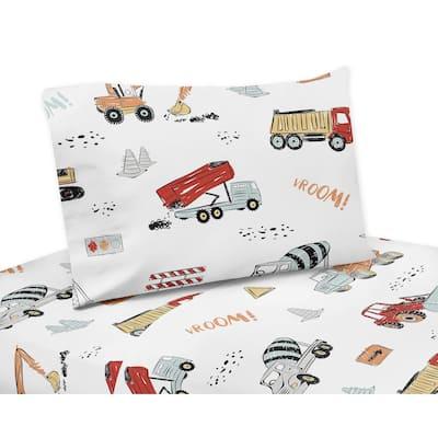 Sweet Jojo Designs Construction Truck Collection 4-piece Queen Sheet Set - Grey Yellow Orange Red Blue Transportation