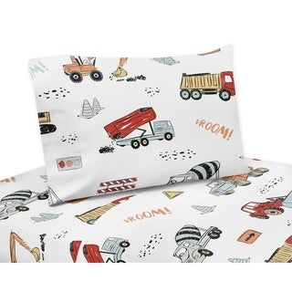 Sweet Jojo Designs Construction Truck Collection 4-piece Queen Sheet Set - Grey Yellow Orange Red Blue Transportation