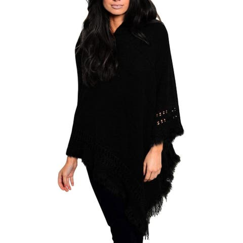 Peach Couture Warm Crochet Hooded Fringe Wrap Shawl Poncho