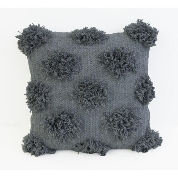 18x18 Silver Barrio Shaggy Dots Fringe Pillow